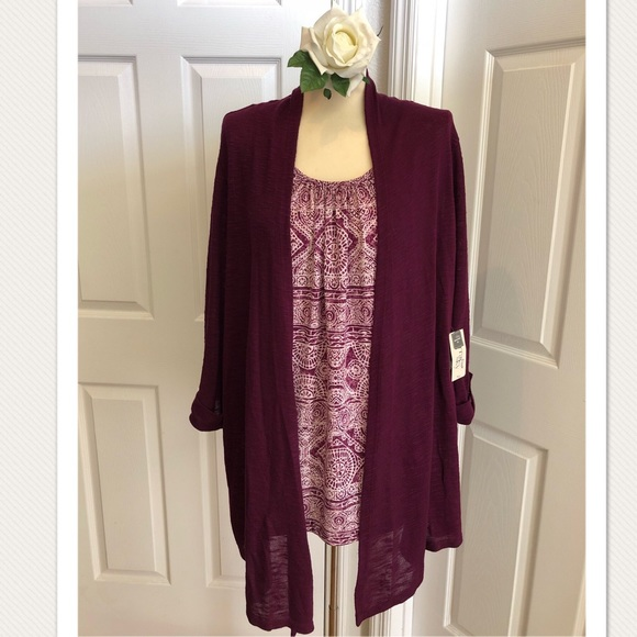 c7764f4aa28 Terra   Sky Attached Blouse with Cardigan!! NWT!!!